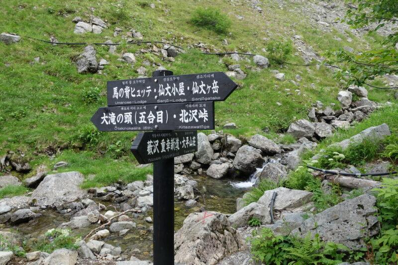藪沢新道と小仙丈尾根の大滝ノ頭へつながる道の分岐点