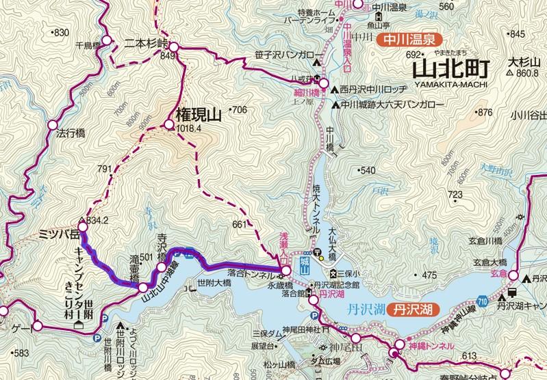 丹沢・ミツバ岳の地図
