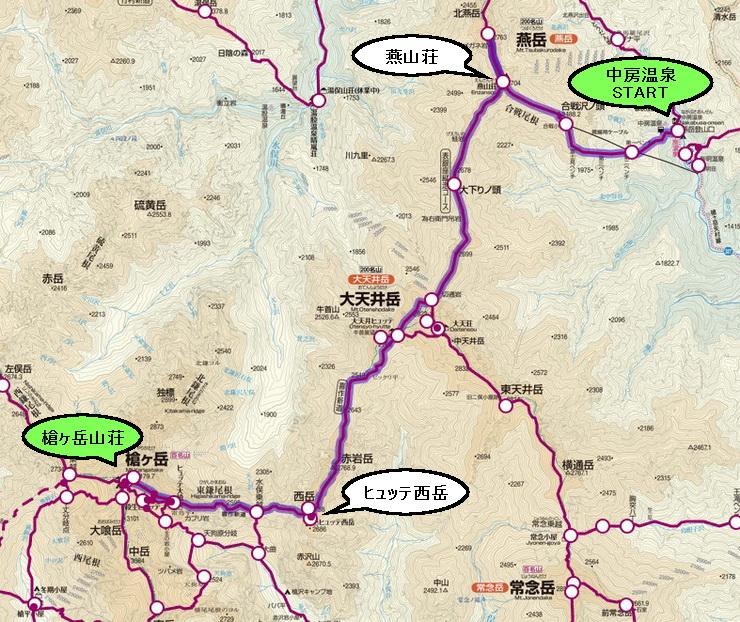 表銀座コース地図(中房温泉~槍ヶ岳)