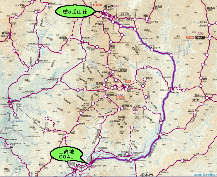 表銀座コース地図(槍ヶ岳~上高地)