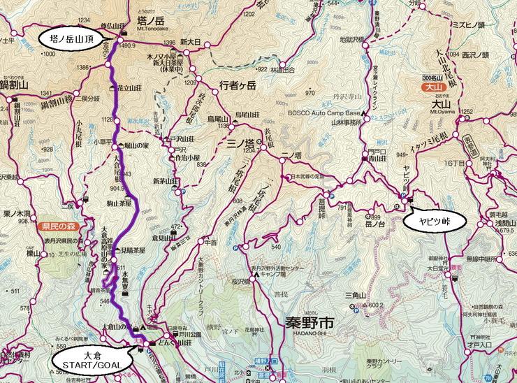 丹沢・大倉~塔ノ岳コース地図