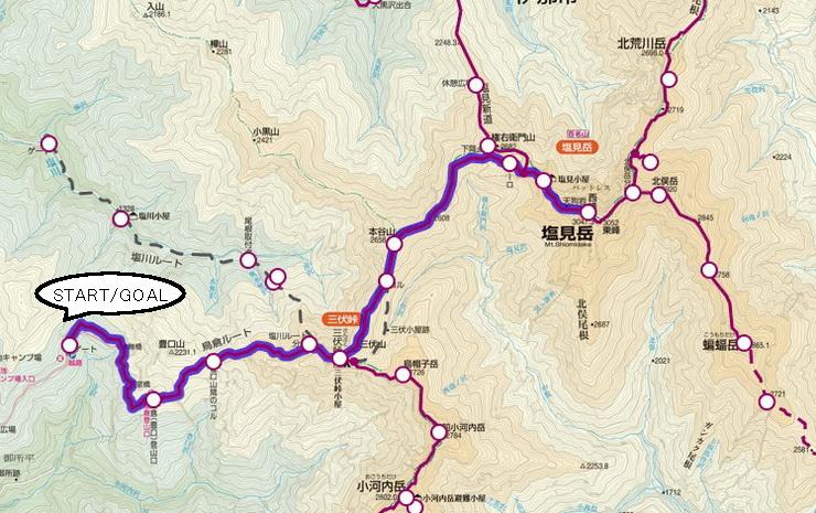 鳥倉~塩見岳・登山コース地図