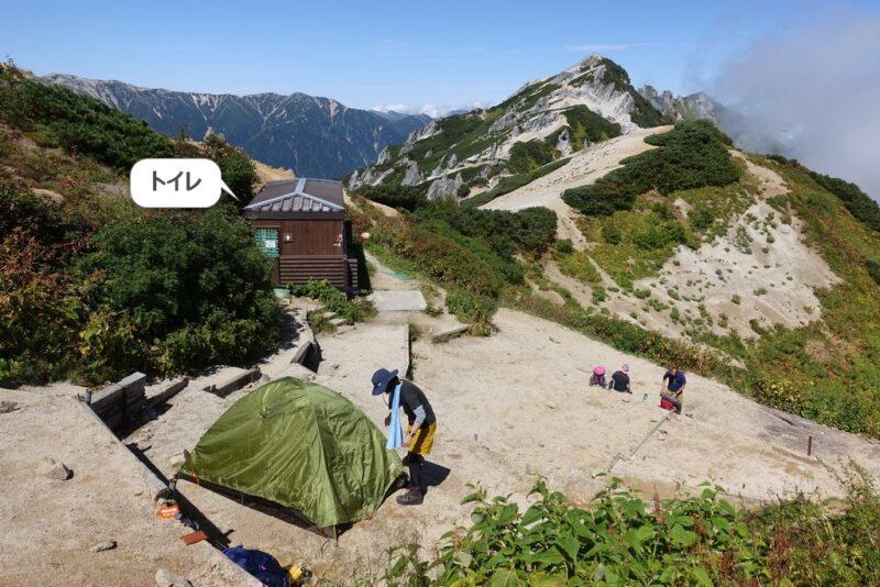 燕山荘のテント場とトイレ