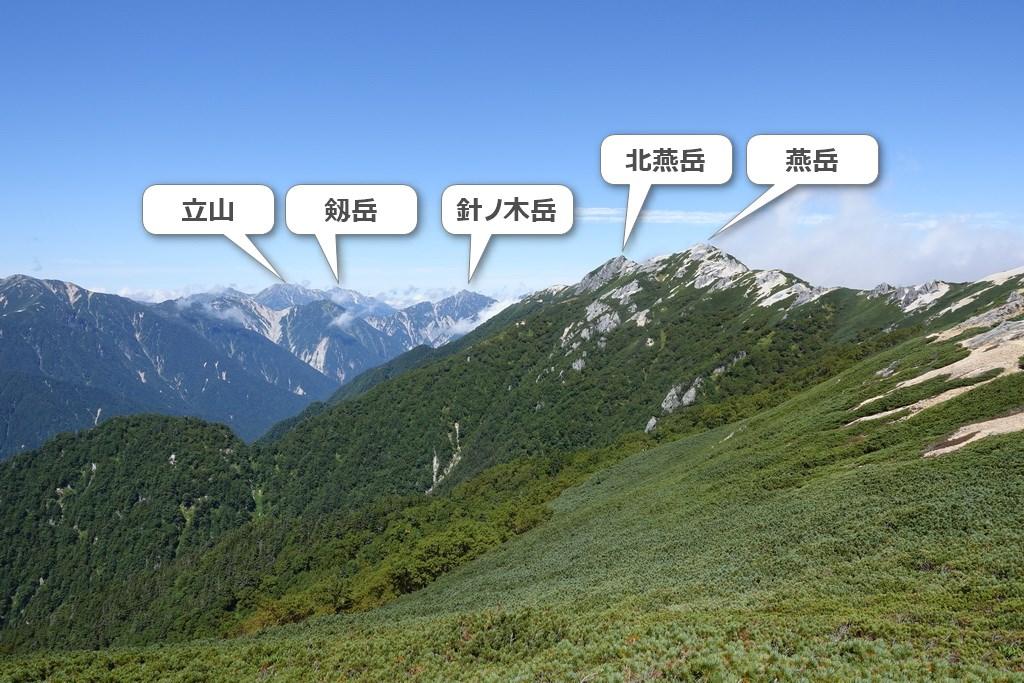 燕山荘~大下りノ頭の景色②