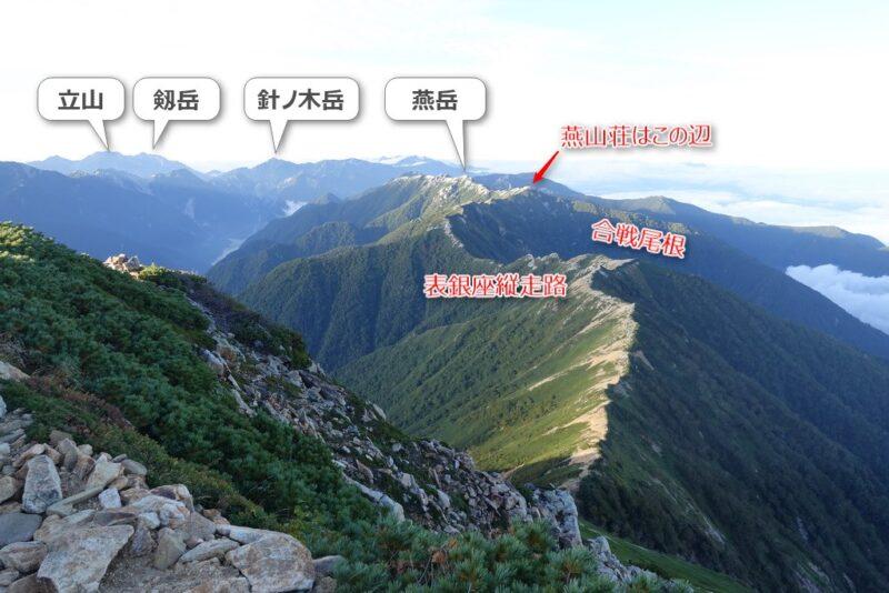 大天井岳山頂の景色