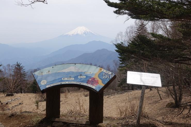 雁ヶ腹摺山の山頂と富士山