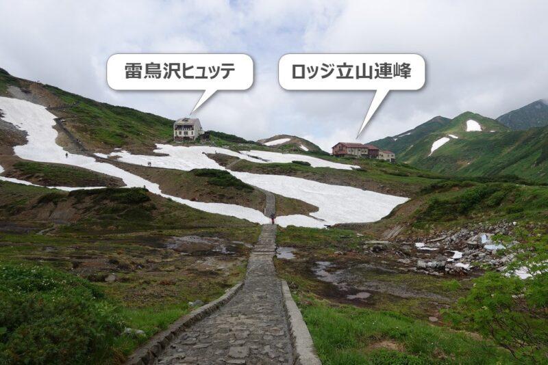 雷鳥沢キャンプ場から雷鳥沢ヒュッテとロッジ立山連峰