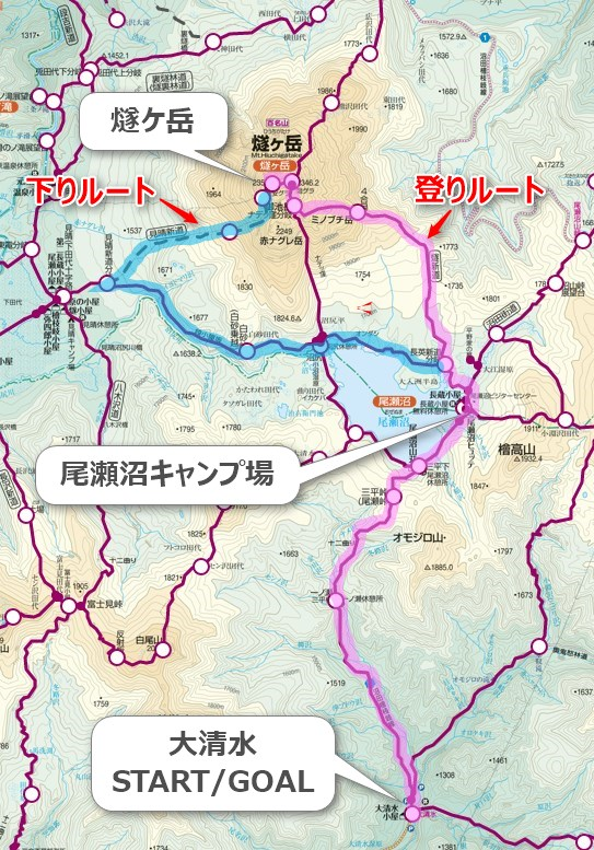 燧ヶ岳・登山コース