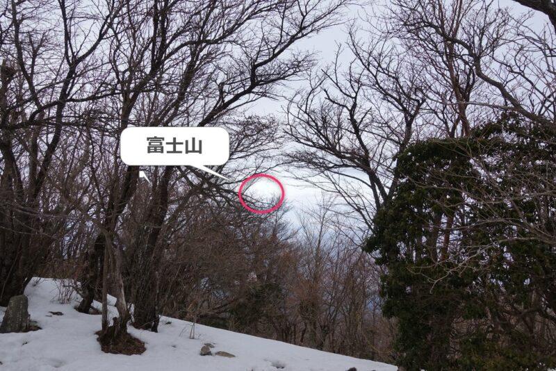万三郎岳の山頂から富士山?