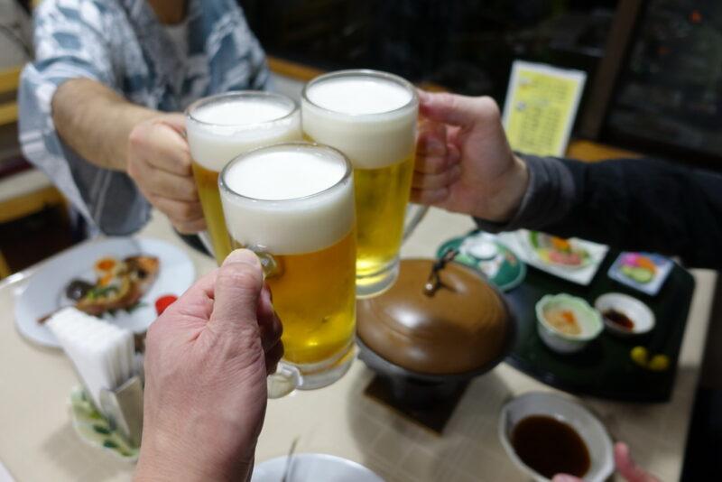 温泉後ナマビールで乾杯!