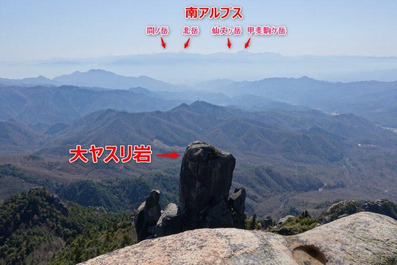 瑞牆山~山頂からの展望(南西側)
