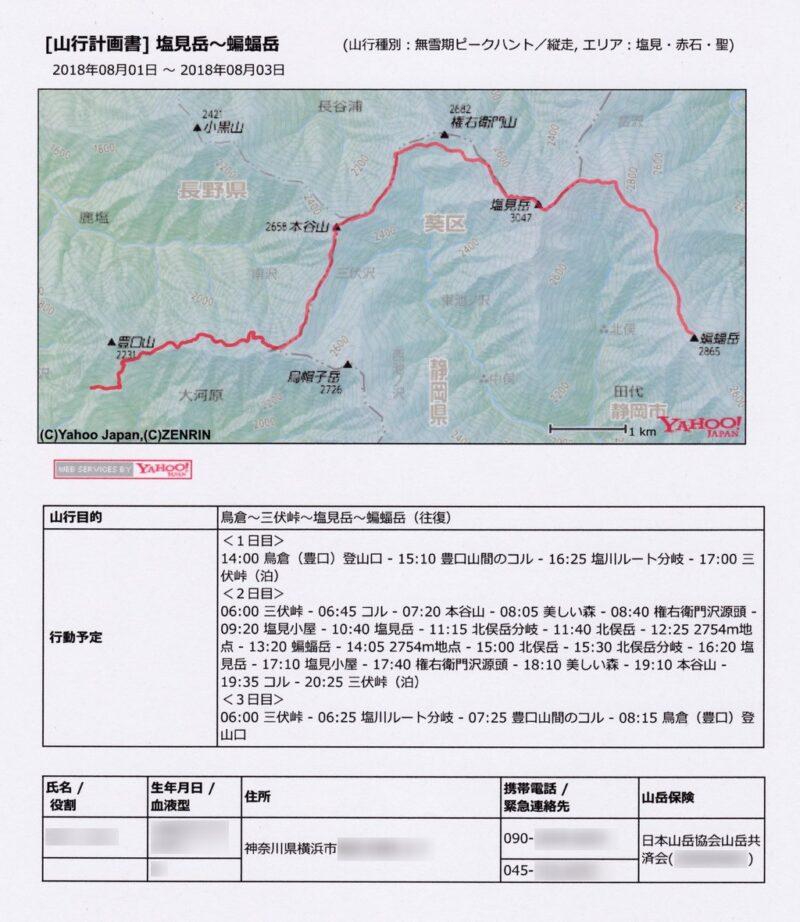 ヤマプラ・登山計画書(登山届)