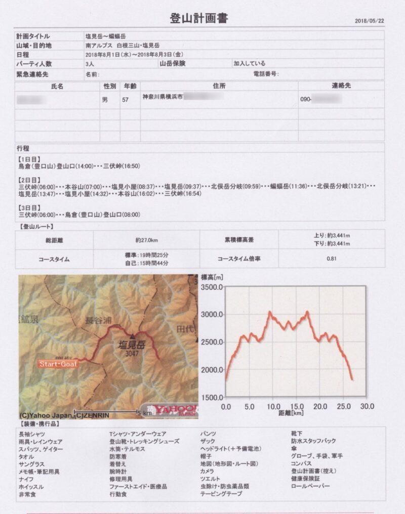 ヤマタイム・登山計画書(登山届)