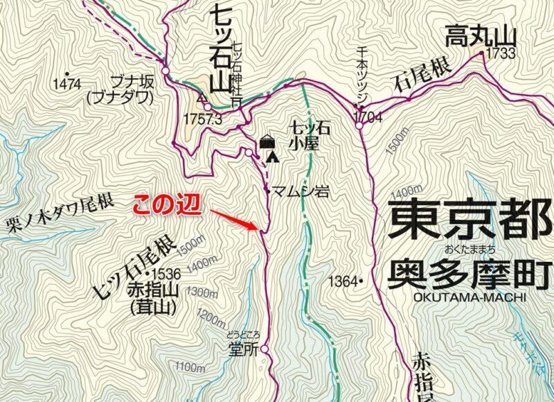 登山地図(堂所~七ツ石小屋)