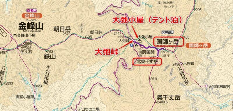 国師ヶ岳、北奥千丈岳の登山コース