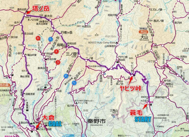 表尾根登山コースの地図