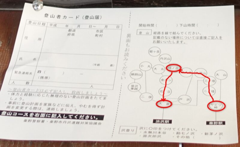 丹沢・登山届の用紙
