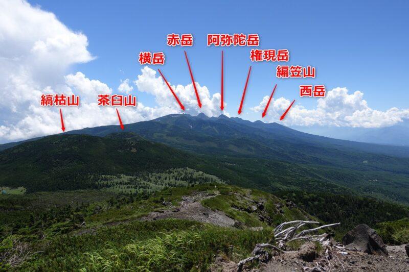 北横岳の山頂から南八ヶ岳